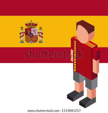 5c8f8a980 Soccer cup 2018. Football player with jersey uniform and national flag,  Spain