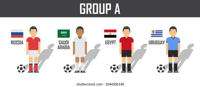 Soccer cup 2018 team group A . Football players with jersey uniform and national flags . Vector for international world championship tournament .