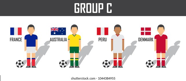 Soccer cup 2018 team group C . Football players with jersey uniform and national flags . Vector for international world championship tournament .