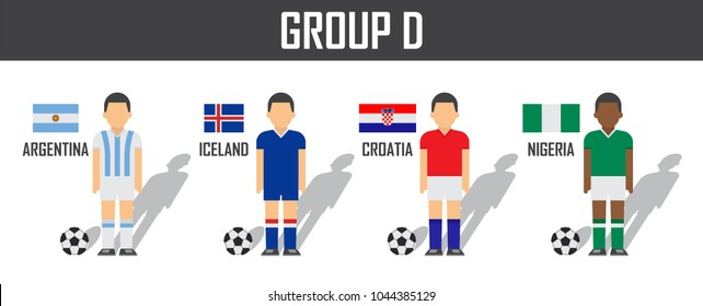 Soccer cup 2018 team group D . Football players with jersey uniform and national flags . Vector for international world championship tournament .