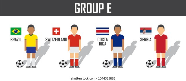 Soccer cup 2018 team group E . Football players with jersey uniform and national flags . Vector for international world championship tournament .