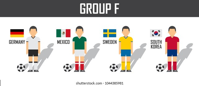 Soccer cup 2018 team group F . Football players with jersey uniform and national flags . Vector for international world championship tournament .