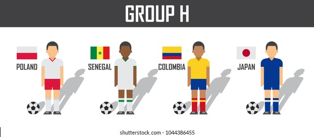 6654460a2af Soccer cup 2018 team group H . Football players with jersey uniform and  national flags .