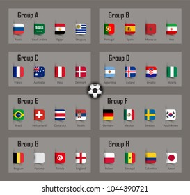 Soccer cup 2018 team group and national flags . Vector for international world championship tournament .