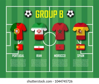 Soccer cup 2018 team group B . Football players with jersey uniform and national flags . Vector for international world championship tournament .