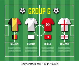 Soccer cup 2018 team group G . Football players with jersey uniform and national flags . Vector for international world championship tournament .