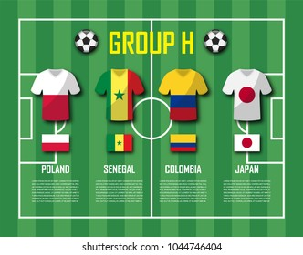 Soccer cup 2018 team group H . Football players with jersey uniform and national flags . Vector for international world championship tournament .