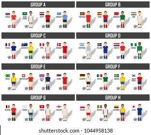 Soccer cup 2018 team group set . Football players with jersey uniform and national flags . Vector for international world championship tournament .