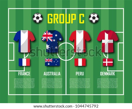 0cf798db962 Soccer cup 2018 team group C . Football players with jersey uniform and national  flags . Vector for international world championship tournament . - Vector