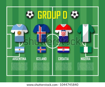 51cae69fee1 Soccer cup 2018 team group D . Football players with jersey uniform and national  flags . Vector for international world championship tournament . - Vector