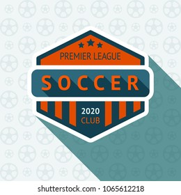 Soccer cup badge, vector illustration 10 EPS, on a blue background