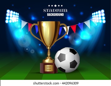 Soccer cup, football championship, soccer ball with a gold realistic cup on stadium background. Vector illustration. eps 10