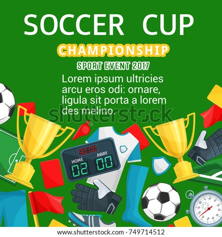 Soccer Cup Or Football Championship Poster Template Vector Design Of Ball Goal Score