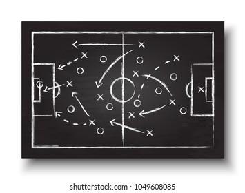 Fußball-Becher-Formation und Taktik. Blackboard mit Fußball-Spielstrategie. Vector für das internationale Weltmeisterschaftsturnier 2018 Konzept .