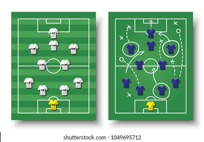 Soccer cup formation and tactic. Set of top view football field and players with jersey on white isolated background. Vector for international world championship tournament 2018 concept .
