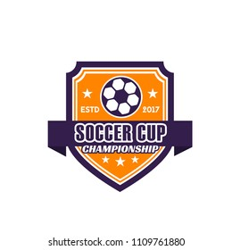 Soccer cup isolated icon for championship and football game match. Vector design of soccer team or college league badge with ribbon and stars for soccer cup or football fan club or sport tournament