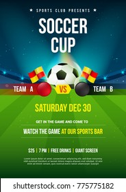 Soccer Cup Poster. Ball with soccer stadium background, Vector illustration