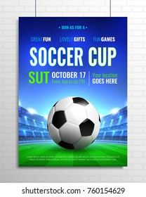 Soccer cup poster on grey brick wall with ball on green field, tribunes with spotlights vector illustration