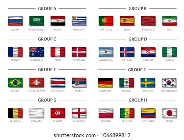 Soccer cup team group set . Realistic wavy national flags . Vector for international world championship tournament 2018