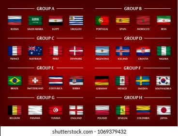 Soccer cup team group set . Realistic wavy national flags on gradient red color background . Vector for international world championship tournament 2018 .