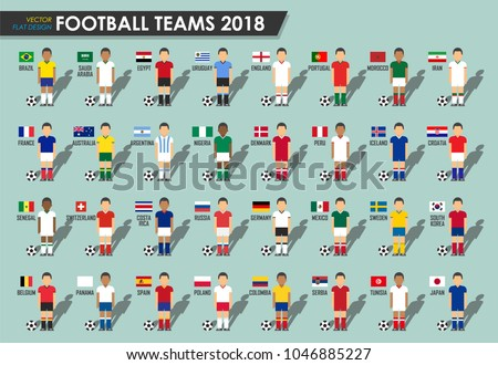 Soccer cup teams 2018 . Set of Football players with jersey uniform and national  flags . 934186f11