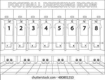Soccer dressing room. Football drawing style design vector.