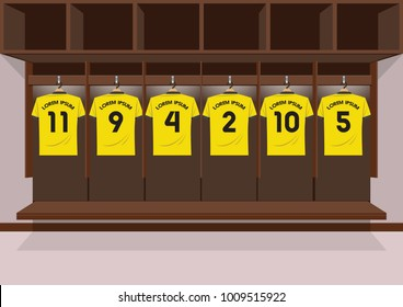 Soccer dressing rooms team. football sport yellow shirt vector illustration