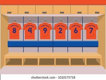 Soccer dressing rooms team. football sport orange shirt vector illustration