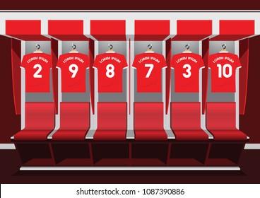 Soccer dressing rooms team. football sport red shirt vector illustration