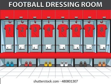 Soccer dressing rooms team. football sport vector illustration