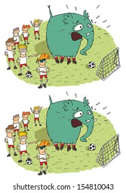 Soccer Elephant Differences Visual Game. Task: find 10 differences! Solution in hidden layer (vector file only). Illustration is in eps8 vector mode!