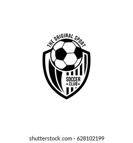 Soccer emblem logo club black white vector