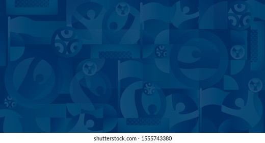Soccer European championship. 2020 Abstract blue background soccer seamless pattern Football. Poster Europe Champion League award cup, Soccer ball, Winner, world WIN Finale Game trend Wallpaper Roma