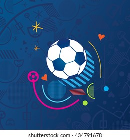 Soccer European championship France. 2016-19 Soccer Abstract blue background soccer pattern Football. Vector poster. Europe Champion League award, Soccer Winner, world WIN, Finale Game Wallpaper 2018