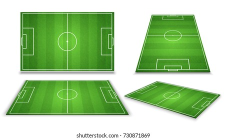 Soccer, european football field in different point of perspective view. Isolated vector illustration. Soccer green field for game