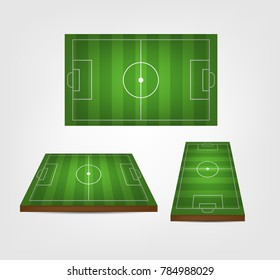 Soccer, european football field in perspective view. Isolated vector illustration. Soccer green field for game