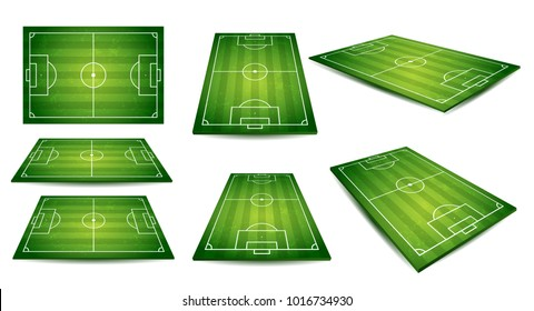 Soccer, European football field in top view different angles point of perspective view. Isolated vector illustration. Soccer set of green field for game