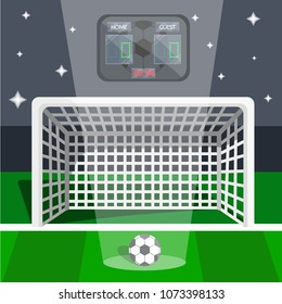 Soccer european football sport game final tournament night concept. Goal with grid, ball, green field, electronic scoreboard, camera flashes, penalty. Time to victory. Modern flat vector illustration
