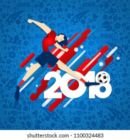 Soccer event illustration for special football match in world cup 2018. Male sport player kicking ball with festive background. EPS10 vector.