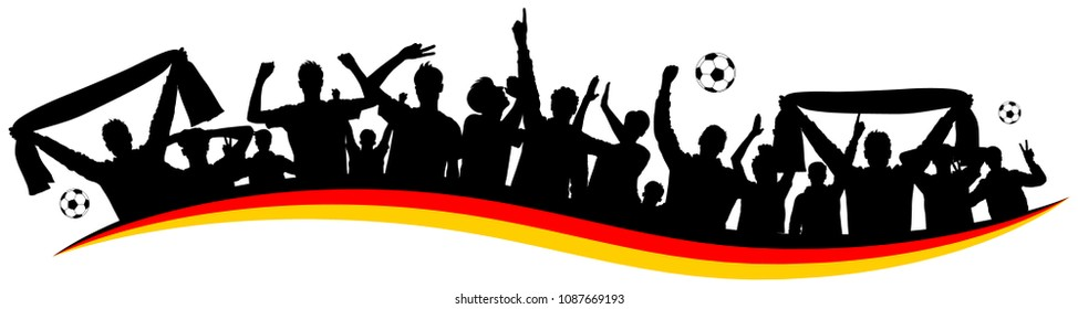 Soccer fan silhouette germany german flag