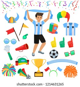 Soccer fan vector football character people with sports hand foam and soccerball illustration set of footballing sportsfan people screaming on football-match isolated on white background