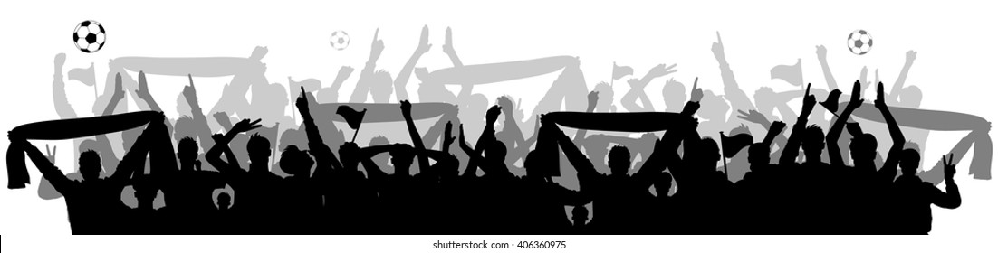 soccer fans crowd silhouette