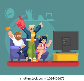 Soccer fans and friends watching tv on couch. Football match supporting people flat vector illustration. Football fan watch game match on tv eps10