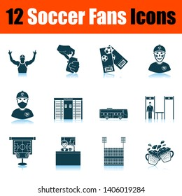 Soccer Fans Icon Set. Shadow Reflection Design. Vector Illustration.
