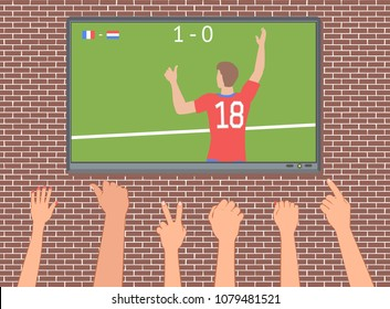 Soccer fans watch the match on TV. Hands with different gestures for victory. Vector illustration EPS-8.