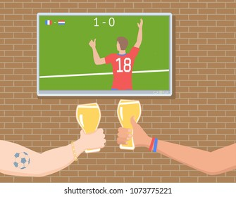 Soccer fans watchin match on TV. Football fans Hands toasting with Beer Glass. Vector illustration EPS-8.