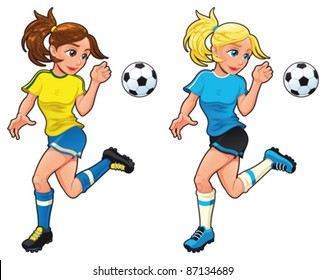 cartoon footballer girl illustration images stock photos vectors