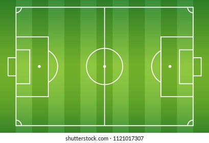 Soccer field background, Football court turf for create plan of soccer game, Top view, Vector illustration