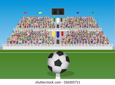 Soccer Field With Ball and Crowd in Grandstand. Vector