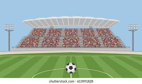 Soccer Field with Ball and Crowd on Grandstand. Vector
